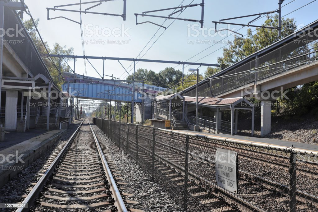 Readville Train Station, Hyde Park, MA. stock photo