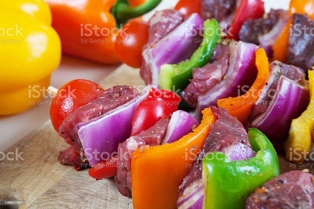 BBQ Ready Beef Kabobs royalty-free stock photo