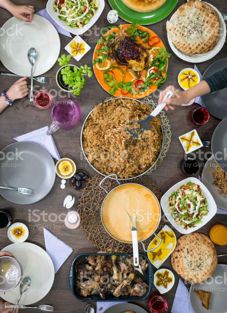 Ready food for family gathering stock photo