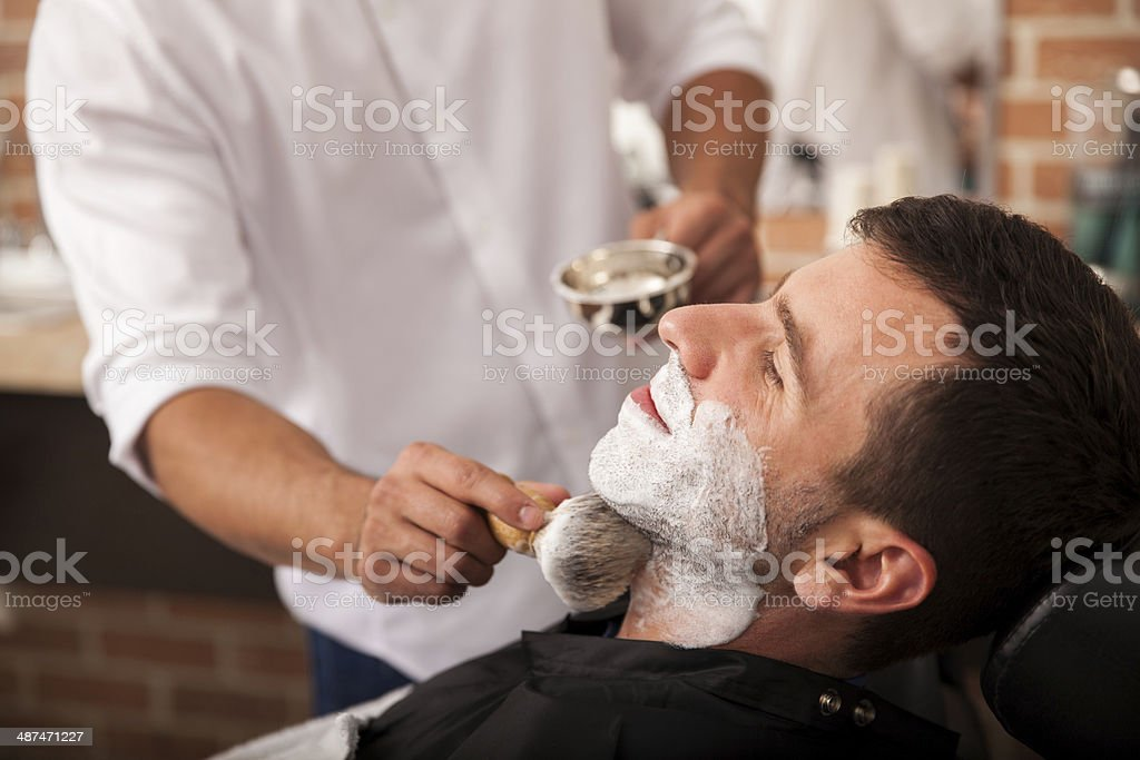 Ready for a shave at the barber's stock photo