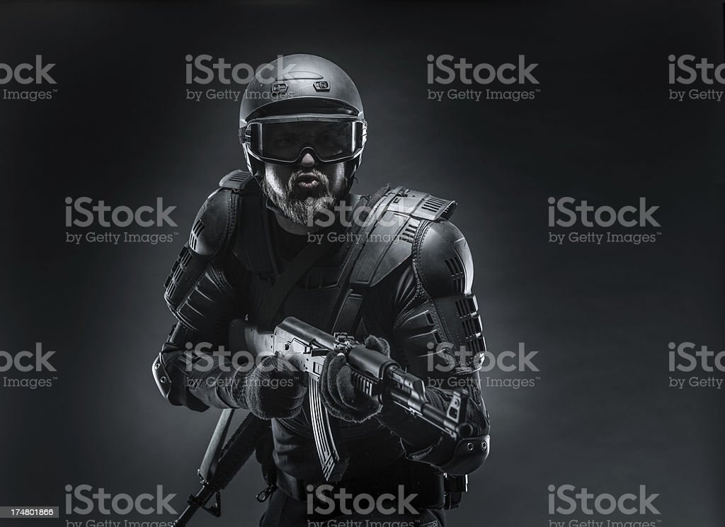 Ready for Battle Against Terrorism, Soldier Armed royalty-free stock photo