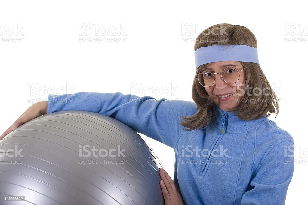 Ready For Exercises With Ball royalty-free stock photo