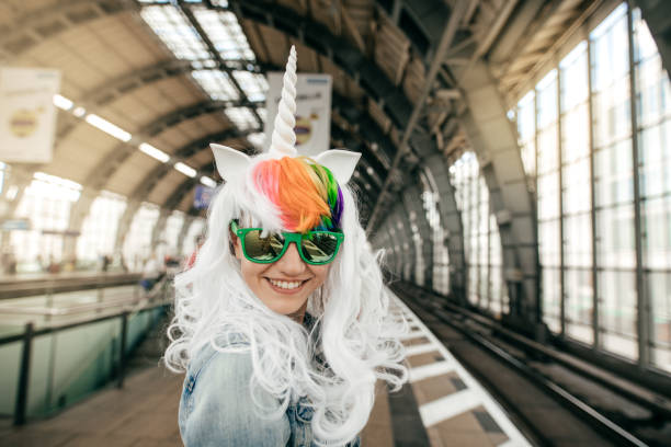 ready for halloween - unicorns stock photos and pictures
