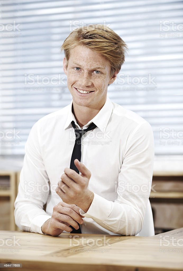 Ready for his first day in the office royalty-free stock photo