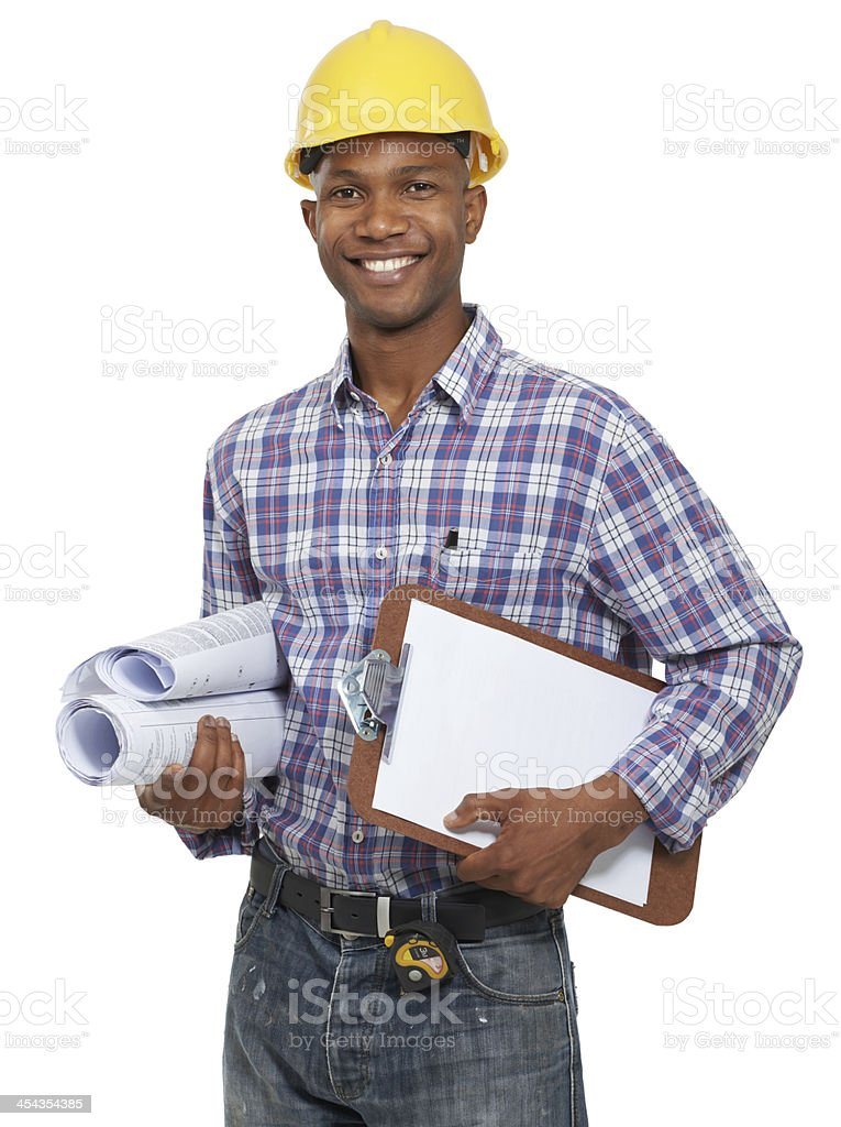 Ready for my day on site! stock photo