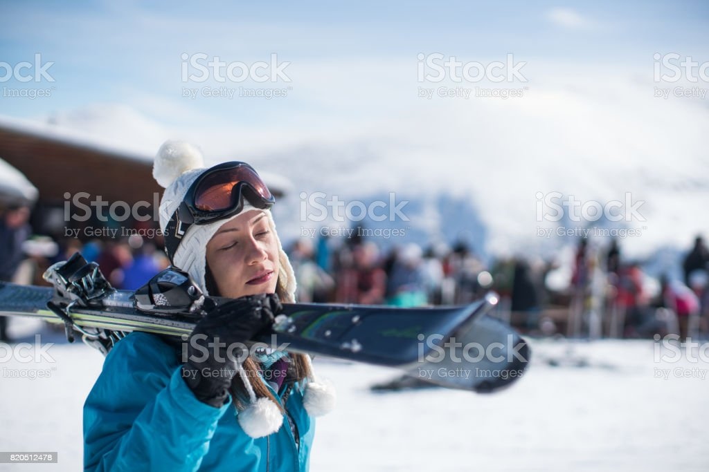 Ready for skiing adventure stock photo