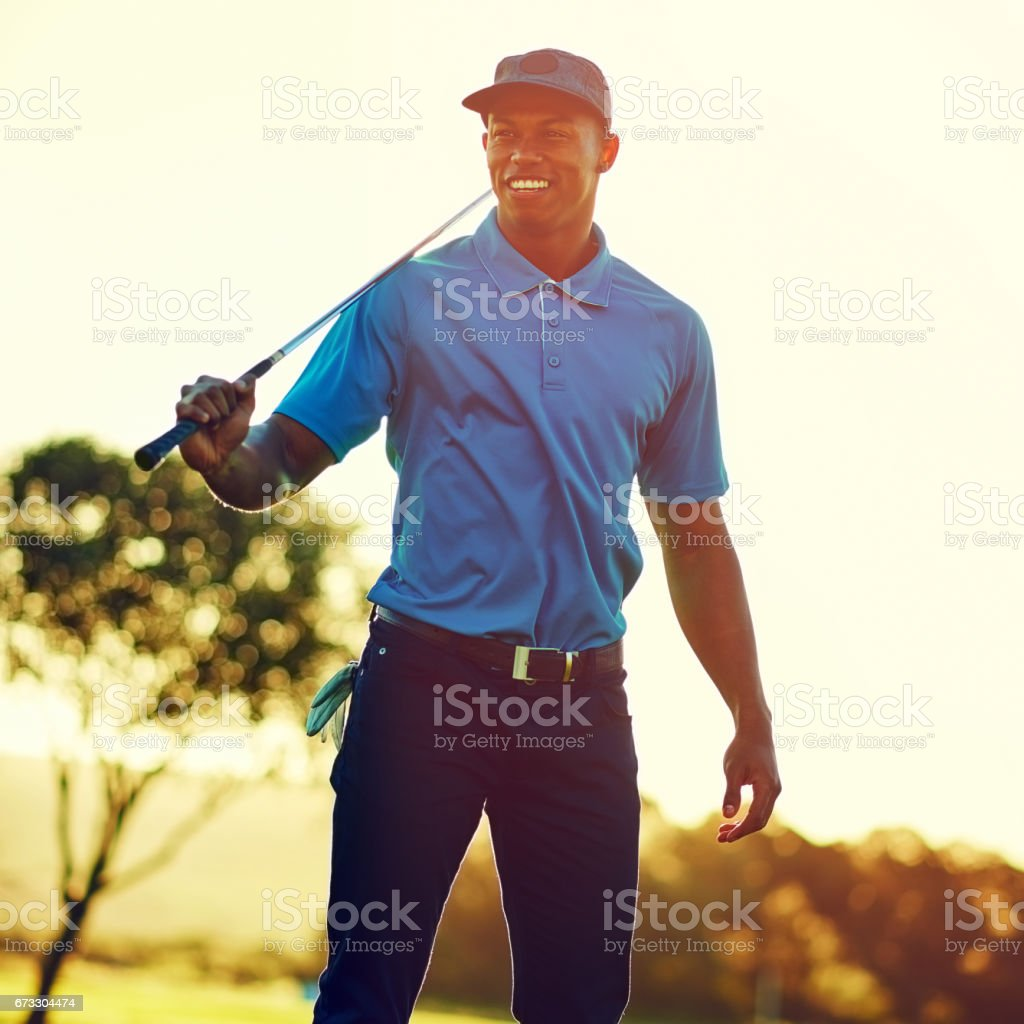 Ready for some golfing action stock photo