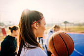 Photo of a teenage girl ready for the basketball match