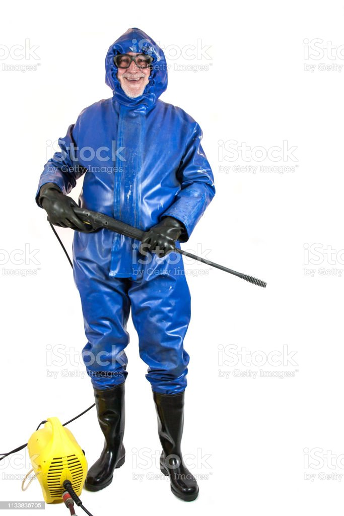 Ready for the high pressure cleaning. - Royalty-free Adult Stock Photo