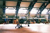 Shot of a light aircraft in a hangar