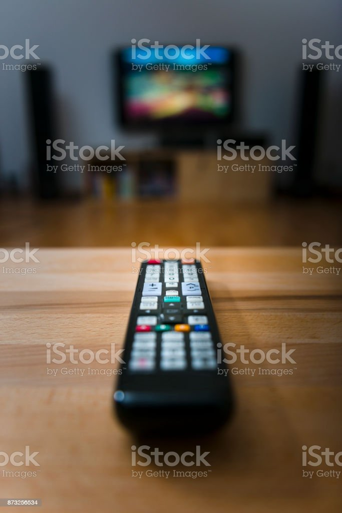 ready for watching television stock photo