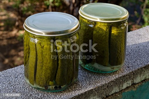 Ready made can of sterilized green cucumbers in a jar, Sofia, Bulgaria