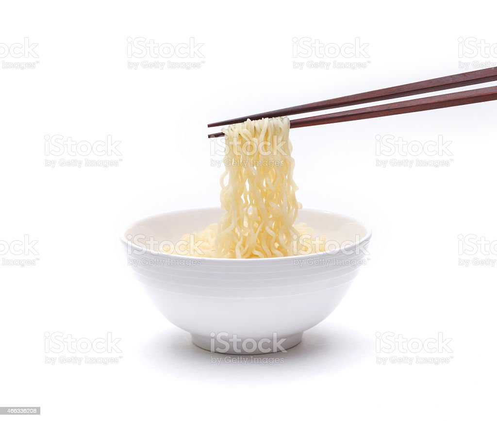 Ready made noodle isolated on white stock photo