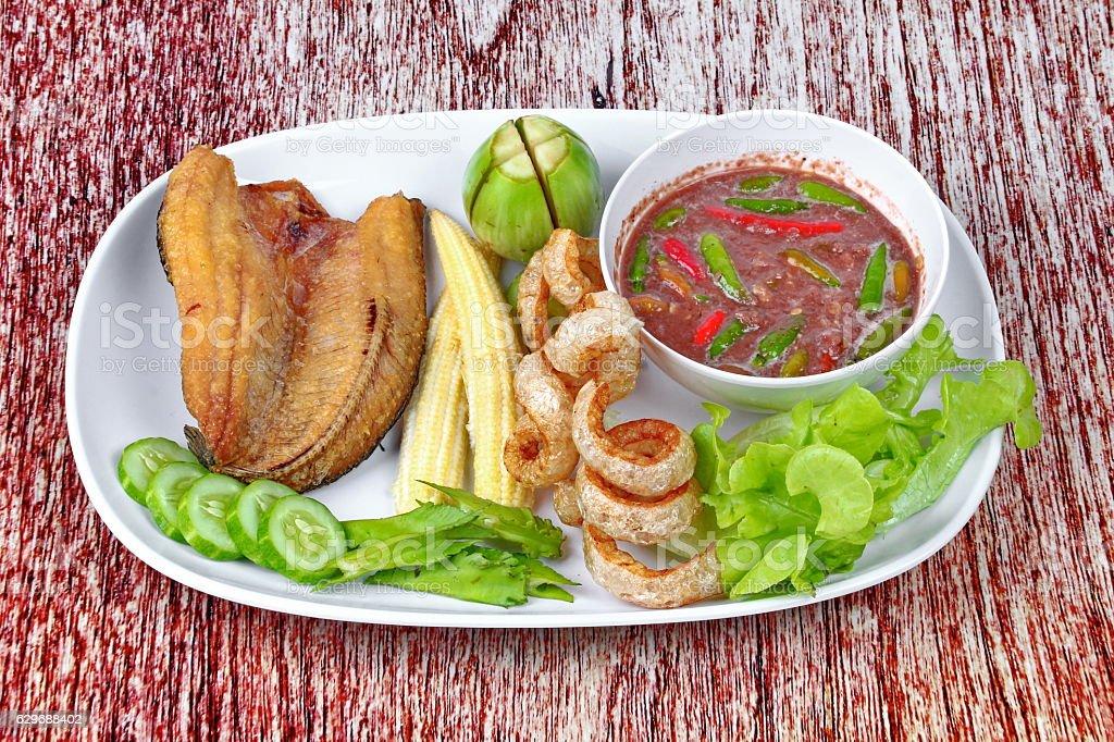 Ready served Spicy shrimp paste dip as  Nam Prik Kapi. stock photo
