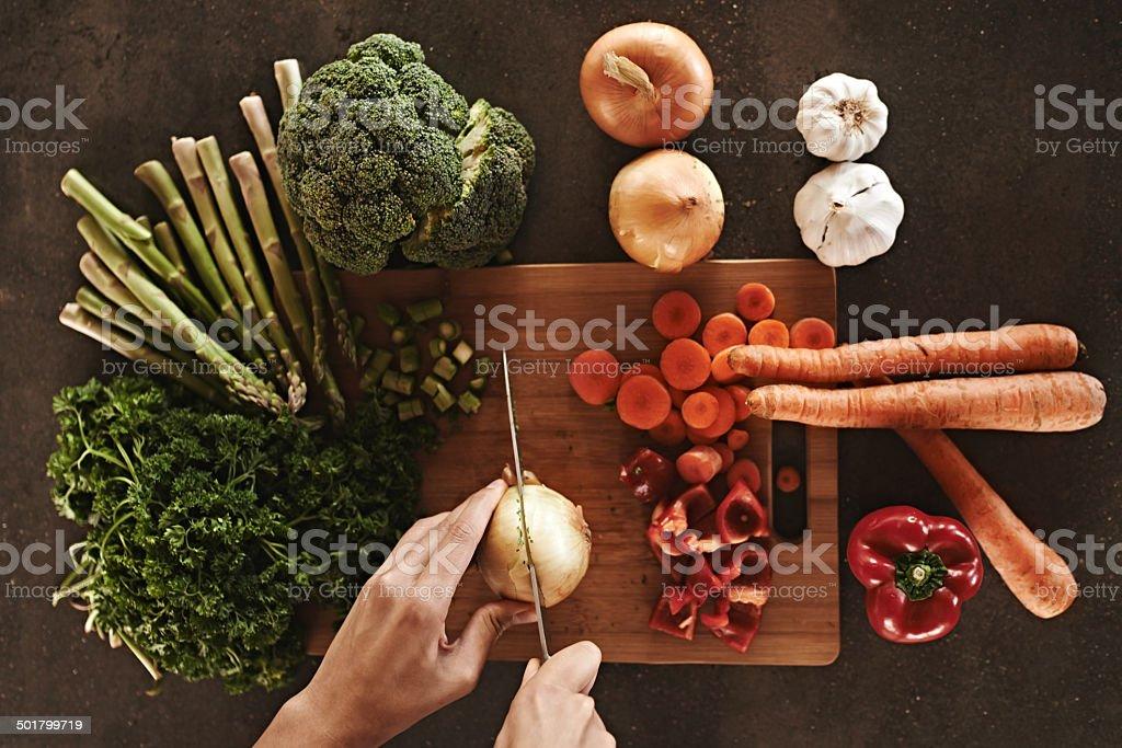 Ready, set, chop! stock photo