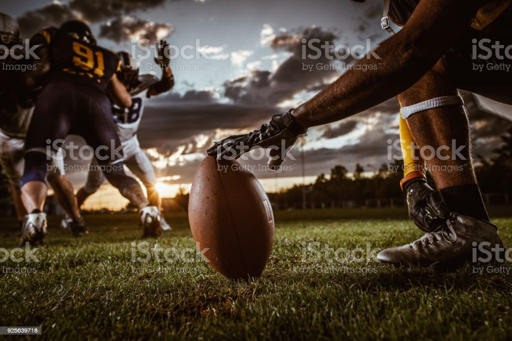 Ready, set, kick off! stock photo