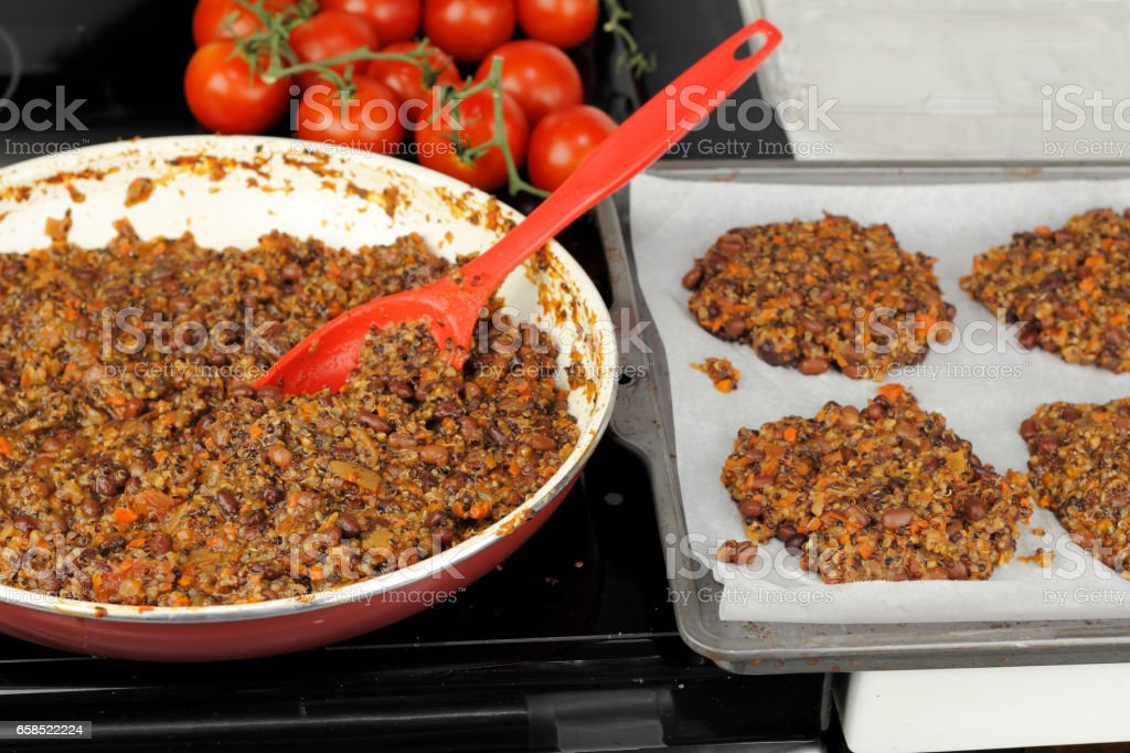 Ready to Be Baked Bean Burgers stock photo