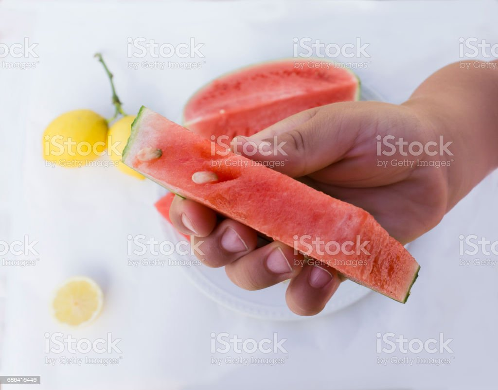 Ready to eat a watermelon slide stock photo