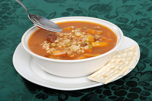 ready to eat beef barley soup stock photo