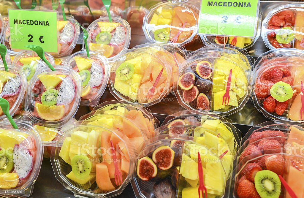 Ready to eat Fruit Salad for sale on food market royalty-free stock photo
