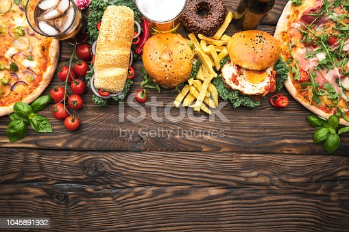 Fast food on the table with space on text. Top View