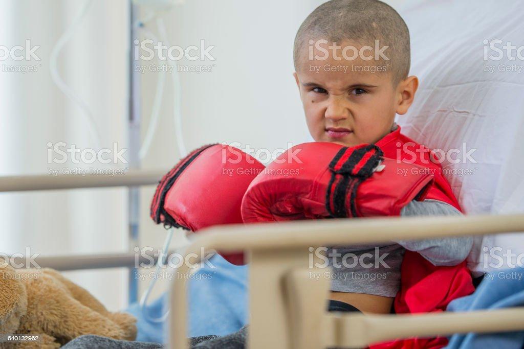 Ready to Fight His Illness stock photo