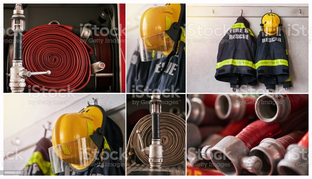 Ready to fight those fires stock photo
