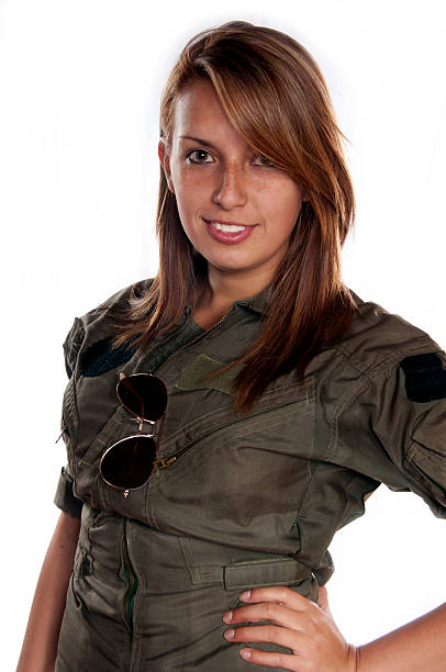ready to fly beautiful woman in flight suit flight suit stock pictures, royalty-free photos & images