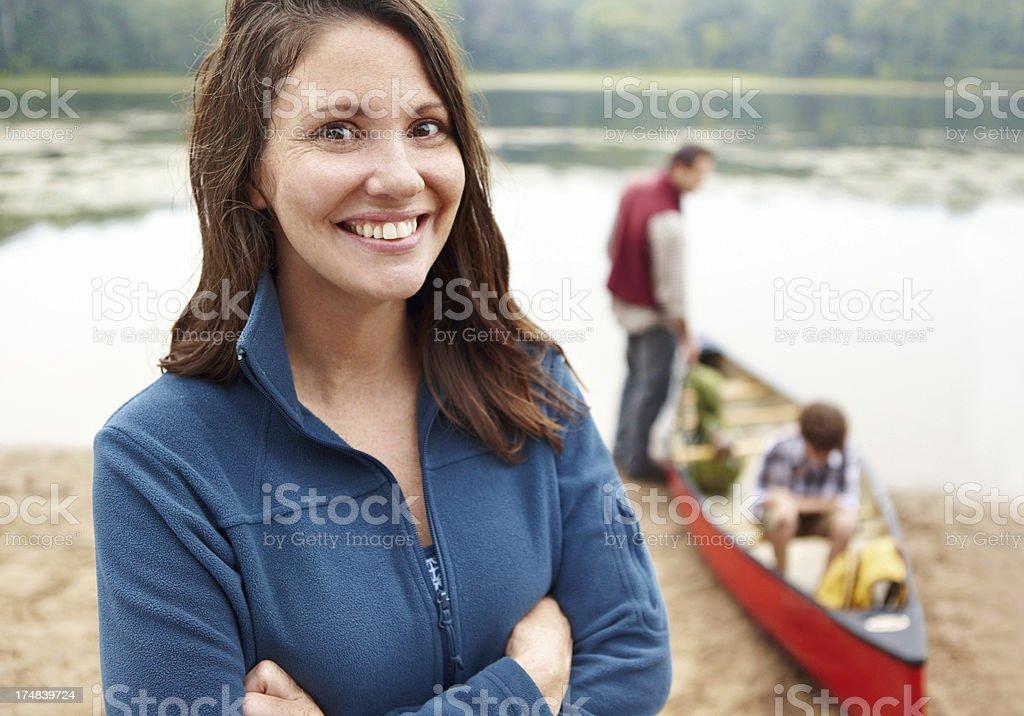 Ready to go on a family canoe adventure royalty-free stock photo