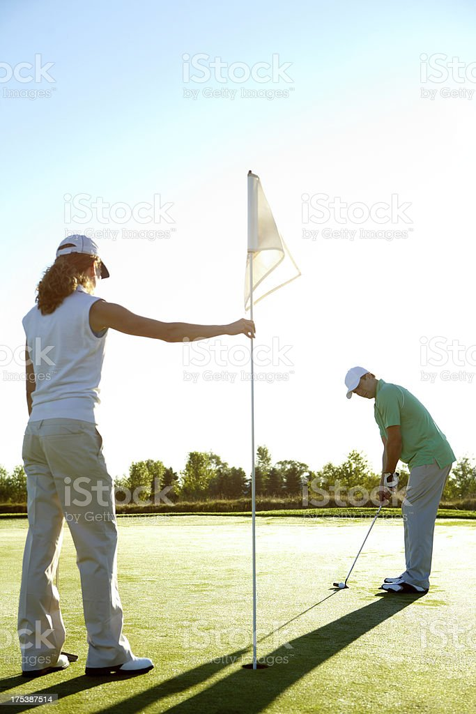 Ready to help out a golfing buddy stock photo