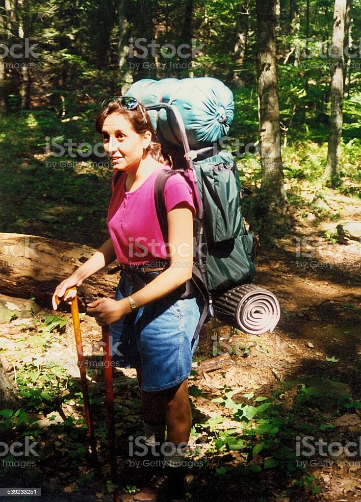 Ready to Hike - Female Backpacker royalty-free stock photo
