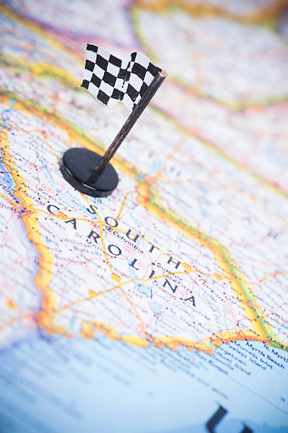 ready to race in south carolina? - charleston sc map stock photos and pictures