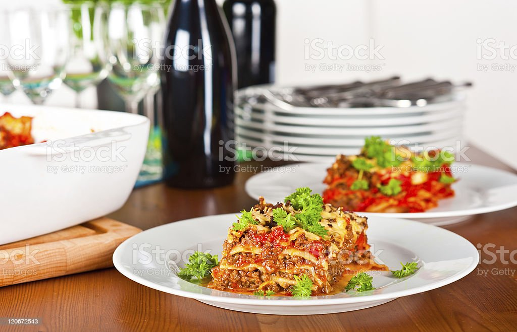 Ready to serve lasagne royalty-free stock photo