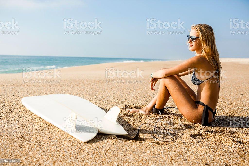 Prêt à surfer photo libre de droits