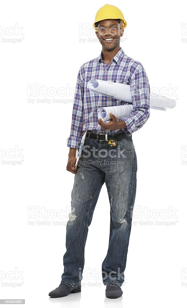 Ready to work on these building plans stock photo