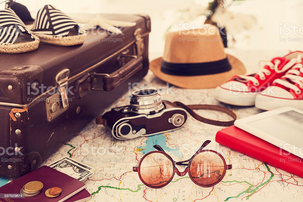 Ready vacation suitcase, holiday concept stok fotoğrafı