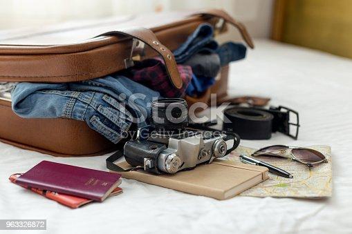 istock Ready vacation suitcase 963326872