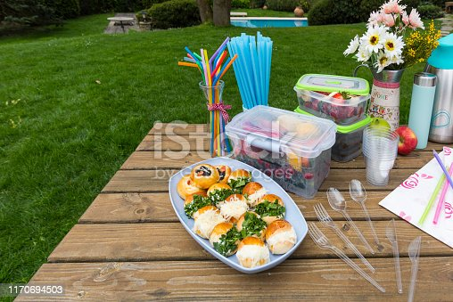 Ready-to-eat foods on picnic table in nature