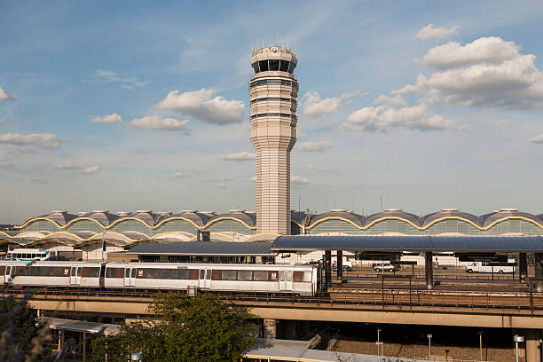 "Reagan National Control Tower and Metro ""A view of Reagan National airport.  The control tower, terminal, and Washington Metro are visible"" ronald reagan washington national airport stock pictures, royalty-free photos & images"
