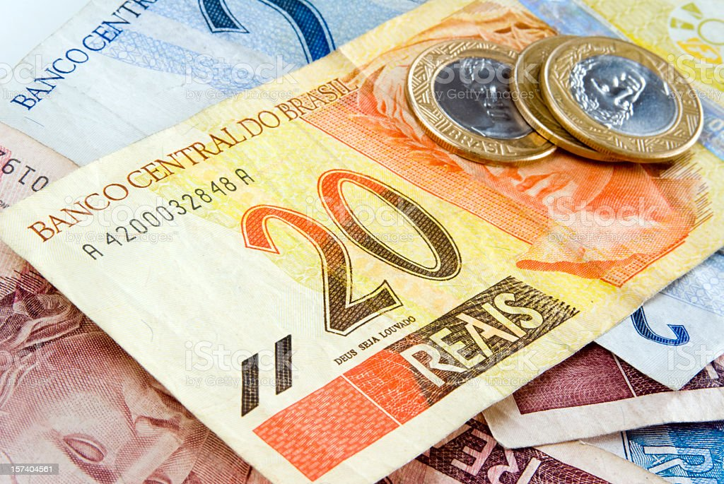 Reais, Brazilian money, piled on a table royalty-free stock photo