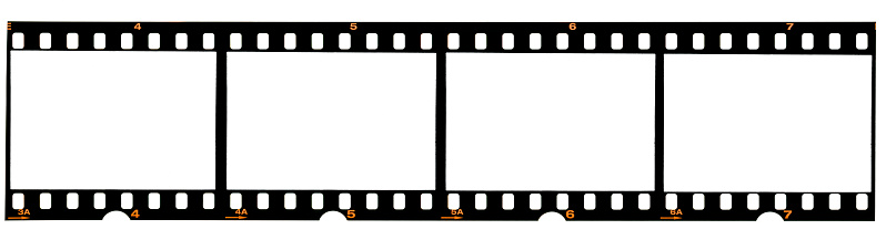 real 35mm film strip on white, analogue photo frame placeholder