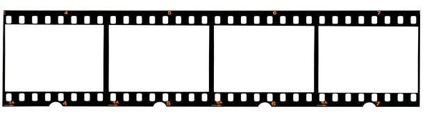 real 35mm film strip on white, analogue photo frame placeholder real 35mm film material film negative stock pictures, royalty-free photos & images