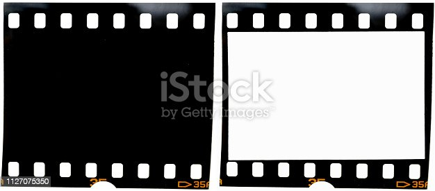 1125303139 istock photo real 35mm film strip on white background with and without blank or empty picture frame, real macro photo of 135 film material, no scan, film texture 1127075350