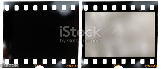 1125303139 istock photo real 35mm film strip on white background with and without blank or empty picture frame, real macro photo of 135 film material, no scan, film texture 1127075380