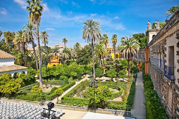 Real Alcazar Gardens in Seville, Spain on a nice day Real Alcazar