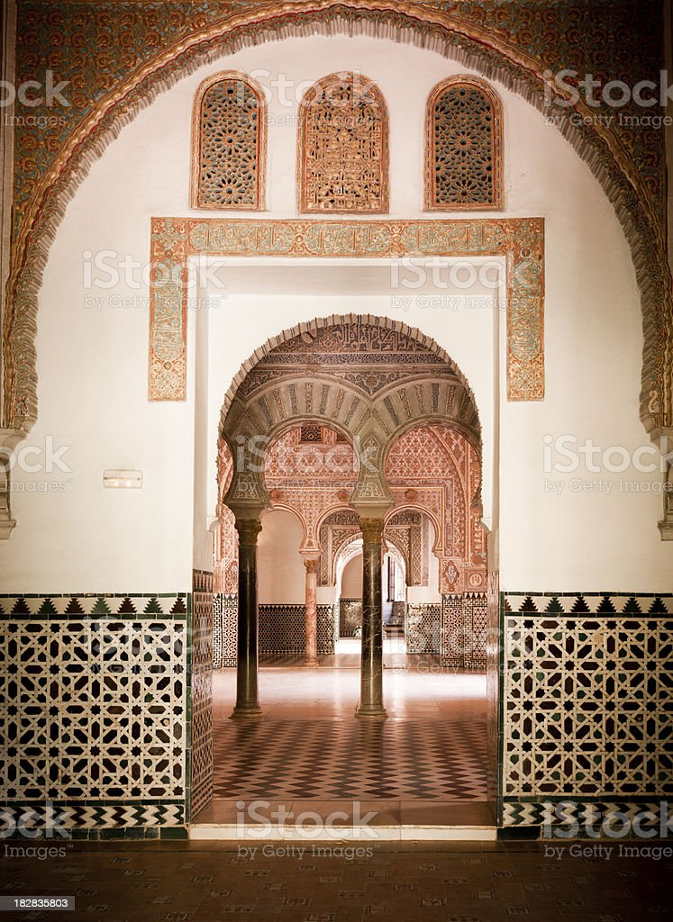 Real Alcazar Interior, Seville Spain royalty-free stock photo