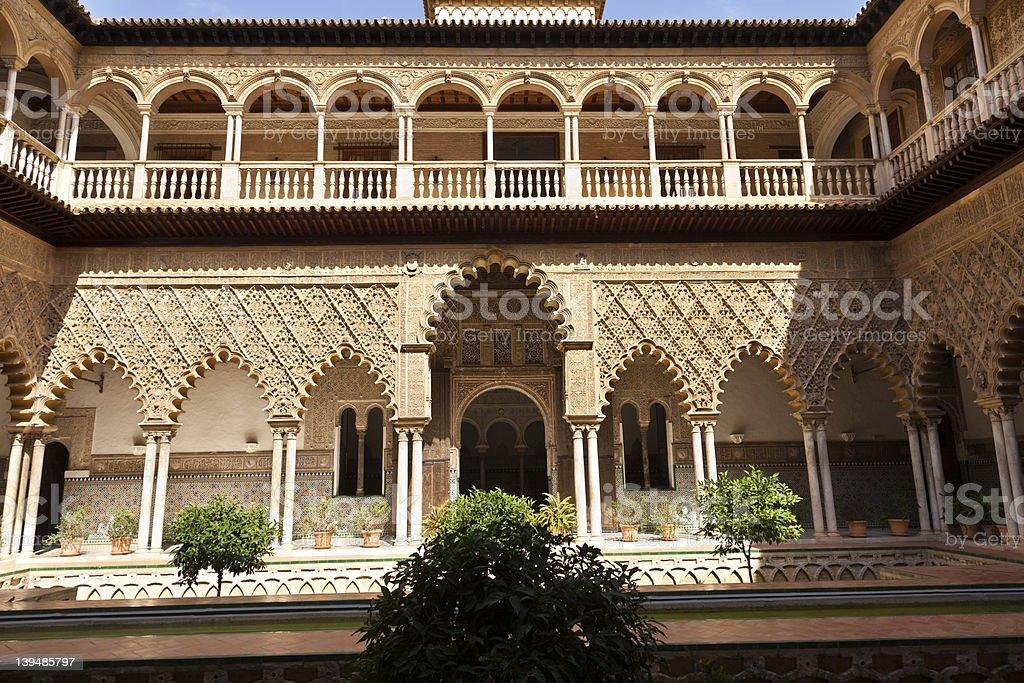 Real Alcazar of Sevilla. Patio de las Doncellas. stock photo