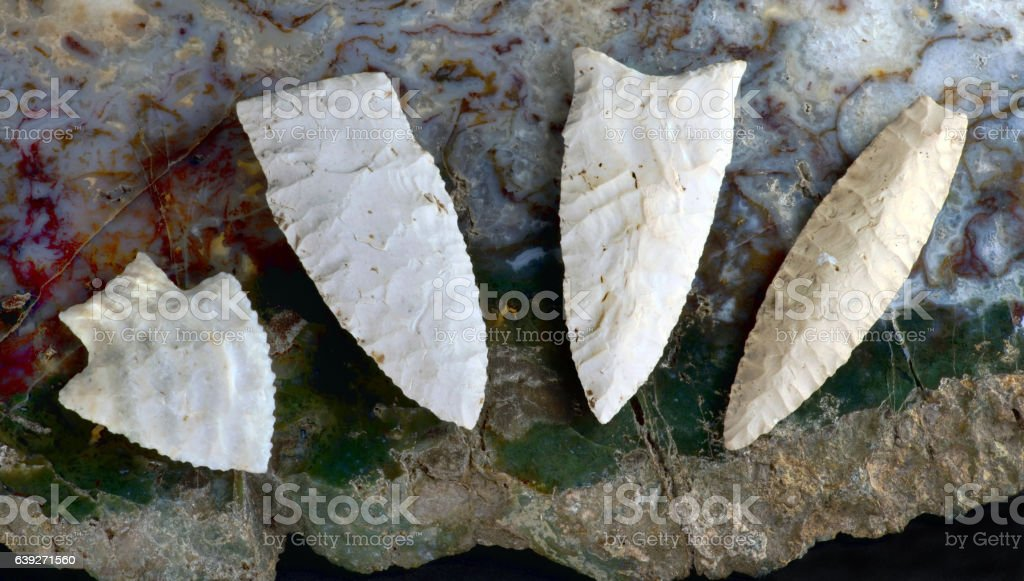 Real American Arrowheads. stock photo