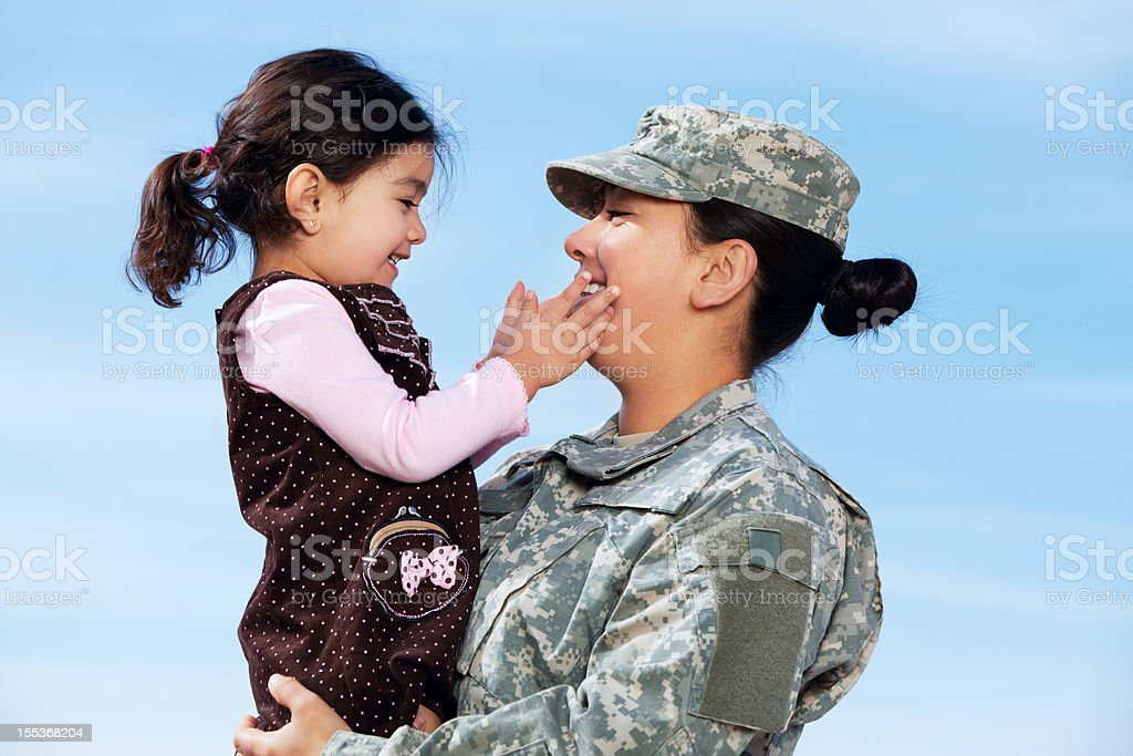 Real American Female Solder & Daughter royalty-free stock photo