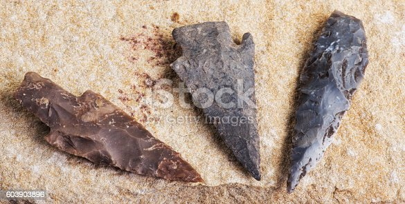 istock Real American Indian Arrowheads. 603903896